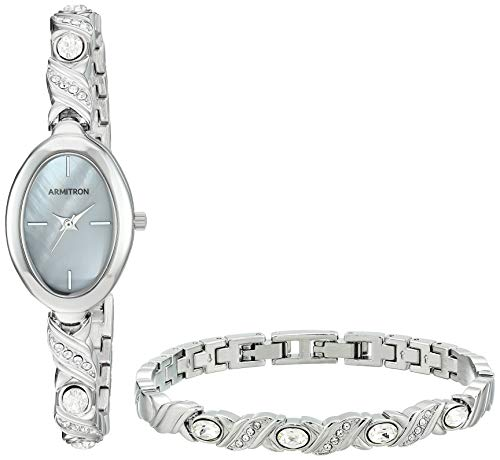 (Armitron Women's 75/5645MPSVST Swarovski Crystal Accented Silver-Tone Bangle Watch and Bracelet Set)