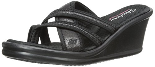 (Skechers Cali Women's Rumblers - Happy Dayz Wedge Sandal, Black Sparkle, 7 M US)
