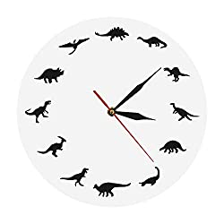 The Geeky Days Dinosaurs Silhouette Wall Clock Creative Animal Nursery Wall Art Decor Kid Room Personalised Dinosaur Clock Modern Silent Quartz Iconic Acrylic Clock Dinosaur Lover Gift