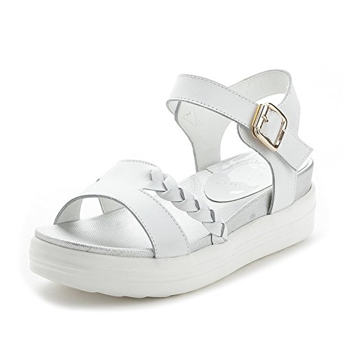 AmoonyFashion Womens Low Heels Solid Buckle Open Toe Sandals White gmzLFLG