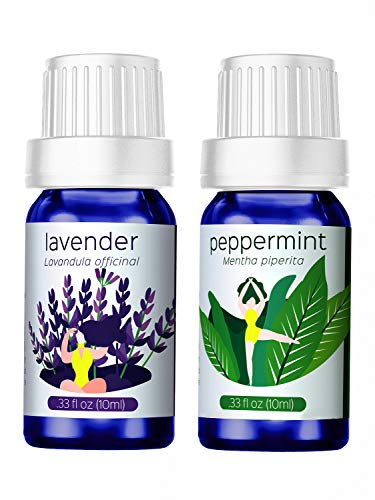 Homasy Essential Oils, Lavender + Peppermint, 100% Pure & Natural Aromatherapy Oil, Therapeutic-Grade Upgraded Aroma Starter Gift Set for Baby Women Spa Relax (2 x 10ml/Bottle)