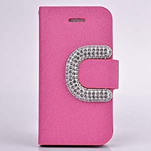 JJE Diamond Camellia PU Leather Wallet Full Body Case with Stand for iPhone 5C(Assorted Colors) , Silver