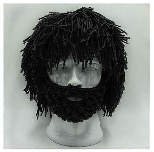 Womens Mens Skullies Beanies Hat Handmade Knitted Men Winter Crochet Mustache Hat Beard Beanies Face Tassel Bicycle Mask Ski Warm Cap Funny Hat Gift New Black ()