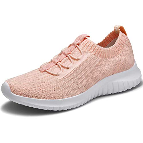 LANCROP Athletic Walking Shoes - Casual Mesh Lightweight Running Slip On Sneakers 8.5 M US Pink