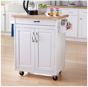 Merveilleux Mainstays Kitchen Island Cart, White. This Stylish Kitchen Furniture Has A  Solid Wood Top