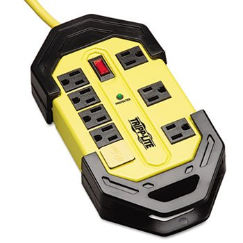 Safety Surge Suppressor, 8 Outlets, 12 Ft Cord, 1500 Joules, Yellow/Black, - Suppressor Outlet 8 Surge Joules