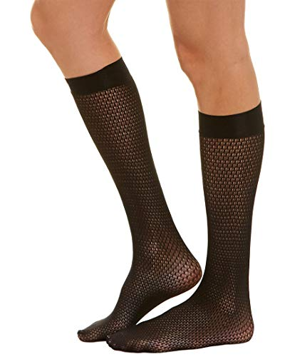 (Wolford Women's Rhomb Net Knee Highs Black Small)