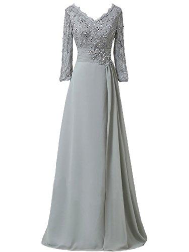 Charmant Brautmutterkleider Abendkleider 2018 Neu Lang Promkleider linie Partykleider Elegant Damen Silber A Langarm rY5SXrx