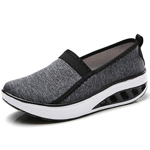Walking Shoes Nurse Shoes Casual Wedge Platform Loafers Comfort Driving Sneakers Plus Size Black 10.5 B(M) US 7693heise42 ()