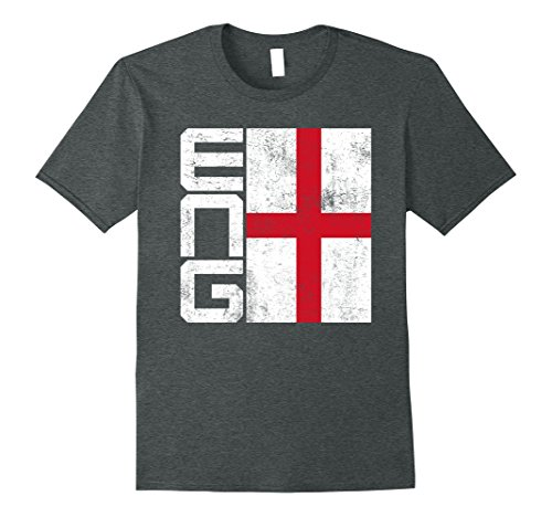 fan products of Mens England Flag T-shirt National Team Country Supporter ENG XL Dark Heather