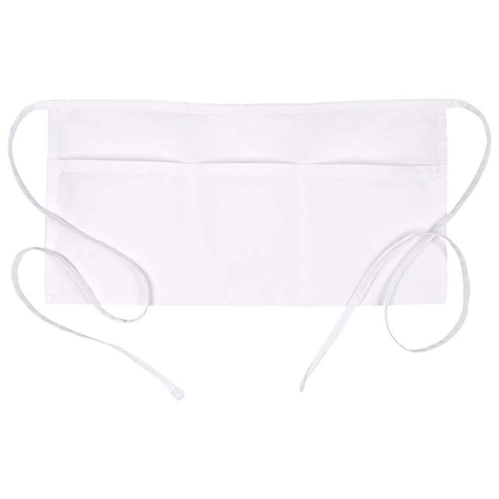 3 Pockets Waist Apron Set of 5 White 11.8 x 23.8 inches - Restaurant Half Aprons Men, Women, Chef, Baker, Servers, Waitress, Waiter, Bartender, Craftsmen and Money Apron, Check Holder