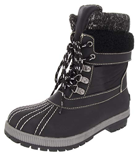 LONDON FOG Womens Mitten Cold Weather Duck Boot for Snow Black-7