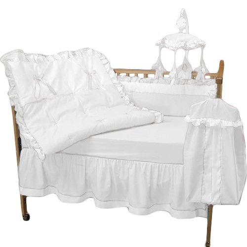 Baby Doll Bedding Regal Crib Bedding Set, White