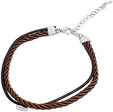 [해외]발목 장식 남성 2 연 가죽 가죽 격자 무늬 코드 끈 발목 발목 팔찌 / Anklet Men`s 2-Piece Genuine Leather Braided Cord String Ankle Ankle Bracelet