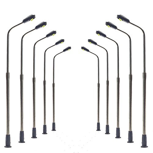 LQS06WM 10pcs Model Railway Train Lamp Post Street Warm White Lights N Scale LEDs NEW