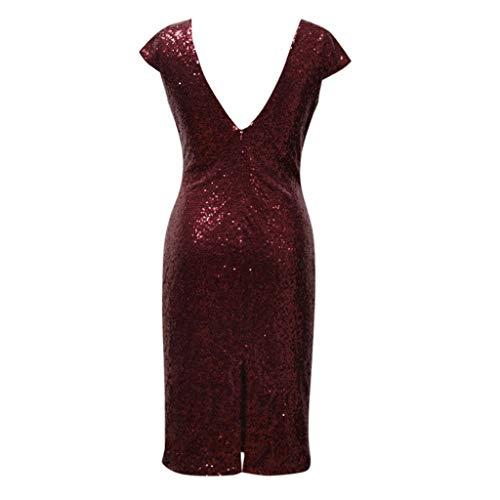 Midi Lady robes De Rouge Retro Moulantes À Robes Sequin Rétro Malloom Courtes Party Manches Dos Club Nu Femmes 76IyvgYbfm