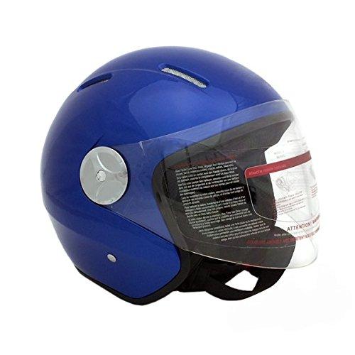 Motorcycle Scooter Open Face Helmet PILOT Flip Up Visor DOT - BLUE (Large)