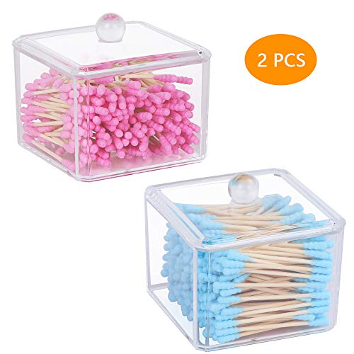 Qtip Holder, McoMce Clear Cutip Holder, Plastic Cotton Swab Dispenser, 2PCS Cotton Ball Holder, Square Cotton Balls Containers - Canister Jar Set Storage for Cotton Swabs, Cosmetics, Jewelry, Snack