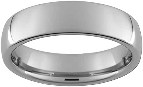 6mm Tungsten Carbide Dome Ring with an Ultra-Bright Finish (full and half sizes 5-15)