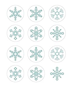 Teal Blue Winter Snowflake Edible Cupcake Toppers Decoration