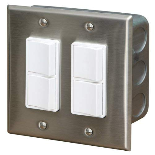 Infratech 14 4305 Accessory - Dual Duplex Switch Wall Plate & Gang Box 20 Amp Per Pole, Patio Heater Switch and Wall Plate (Heating Infratech)