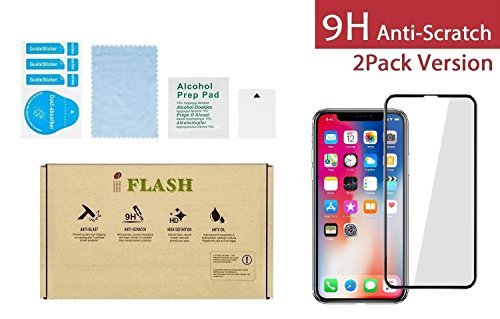"""iPhone X, iPhone Xs Full Coverage Screen Protector, iFlash [2 Pack] Full Cover Tempered Glass Screen Protector for Apple iPhone X/XS 5.8"""" 2017 2018 - Face ID/No Bubble/Edge-to-Edge Full Surface"""