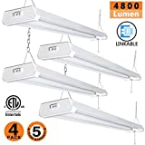 OOOLED LED Shop Light,4FT(4pack),42W 4800LM 5000K Daylight White, with Pull Chain (ON/Off),Linear Worklight Fixture with Plug, cETLus Listed 4PACK 50K