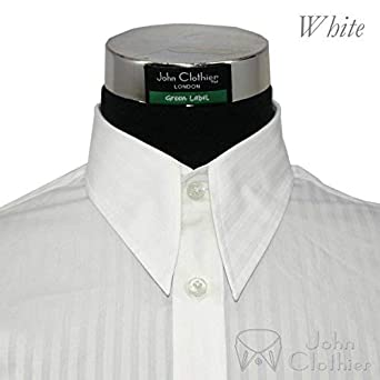 1ae2063a3fde2b Mens Spear Point Collar Shirts 1930s 1940s 1950s Vintage Style Classic Long  Sleeves 100% Cotton Relax Fit Shirts White Stripes 100-06: Amazon.co.uk: ...