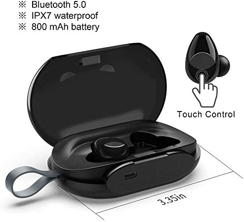 True Wireless Sport Earbud by Blobfish Touch Control Latest Bluetooth v5.0 Built-in Microphone IPX7 Stereo Headset Waterproof for Sport, Gym Running 800mAh Charging Box