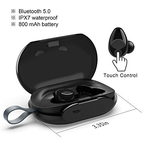Price comparison product image True Wireless Sport Earbud by Blobfish Touch Control Latest Bluetooth v5.0 Built-in Microphone IPX7 Stereo Headset Waterproof for Sport,  Gym Running 800mAh Charging Box