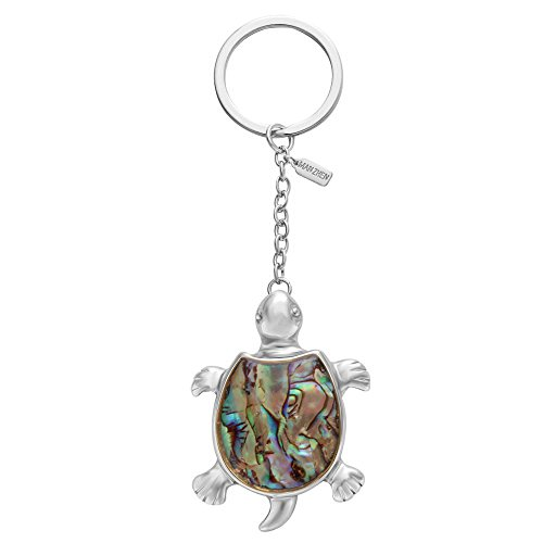 - MANZHEN Sea Turtle Tortoise Natural Abalone Shell Pendant Keychain Fashion Jewelry (Silver)