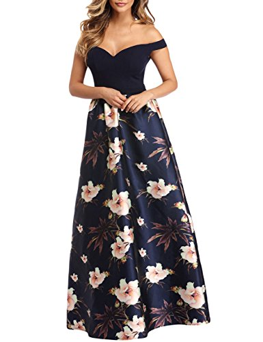 Off Shoulder Bodice Empire Waist Maxi Prom Evening Dress Floral Print Gown Dark Blue