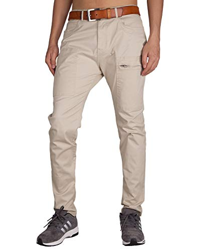 ITALY MORN Men's Chino Khaki Casual Pants 32 Cream Khaki ()
