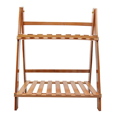 Saim Plant Flower Stand Rack Shelf 2-Tier Bamboo Foldable Shelves Pot Racks Planter Organizer Display Shelving Unit -