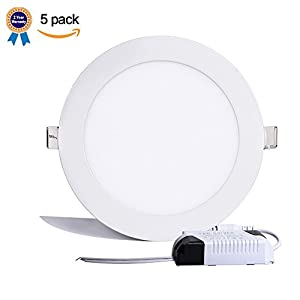 B-right Pack of 5 Units 12W 6-inch Ultra-thin Round LED Recessed Panel Light, 850lm, 80W Incandescent Equivalent, 3000K Warm White, LED Recessed Ceiling Lights for Home, Office, Commercial Lighting