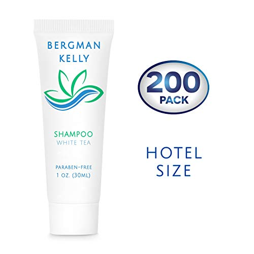 BERGMAN KELLY Travel Size Hotel Shampoo (1 Fl Oz, 200 PK, White Tea), Delight Your Guests with Revitalizing and Refreshing Shampoo for Guest Hospitality, Mini & Small Size Luxury Shampoo in Bulk