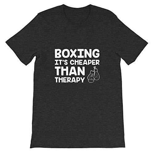 Quotablee Boxing It's Cheaper Than Therapy, Funny, Boxer, Gift, Training, Punching, Martial Arts, MMA, T-Shirt Dark Grey Heather