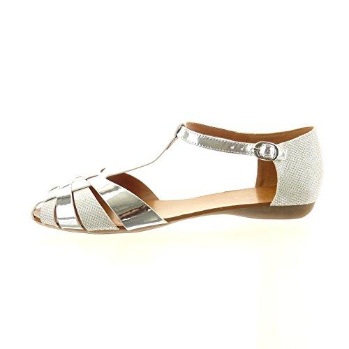 Sopily - Zapatillas de Moda Sandalias correa Tobillo mujer patentes brillante Talón Tacón ancho 1 CM - Plata