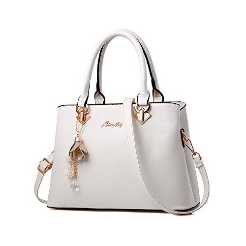 Tisdaini Sacchetto di spalla elegante del sacchetto di spalla della borsa di brevetto del progettista di modo delle donne bianca