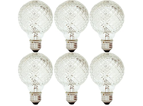 GE Lighting 16774 40-Watt Halogen Faceted G25 Vanity Light Bulb, -