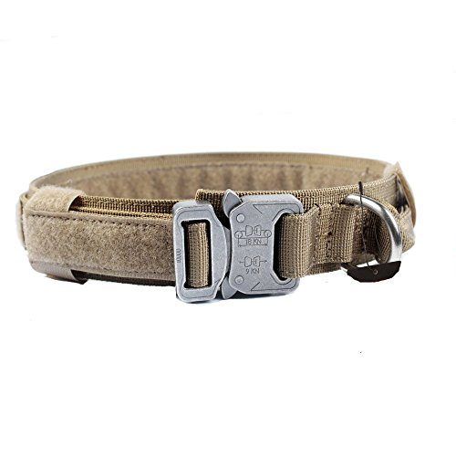 GrayCell Adjustable Dog Collar Tactical Nylon Military Training Dog Collar With D-ring Handle Metal Buckle for Medium Large Dogs (XL, CB) - D-ring Training Collar