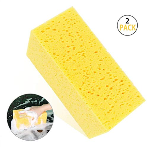 Airpro Car Wash Sponge Extra Large Size Sponge Multi-use Super Absorbent Premium Auto Ultrafine Fiber Professional Cleaning for Cars, Kitchen, Bathroom, Lobby(Square Sponge 2 Pack) …