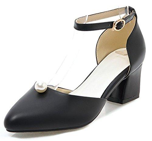 Idifu Womens Elegante Cinturino Alla Caviglia A Punta Tacco Medio Basso Con Tacco Alto Scarpe Da Sposa Scarpe Nere