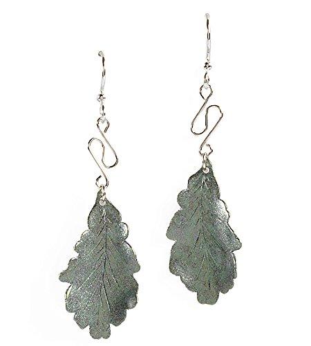 (Jody Coyote Earrings Eden Collection SMC119-01 silver green leaf)