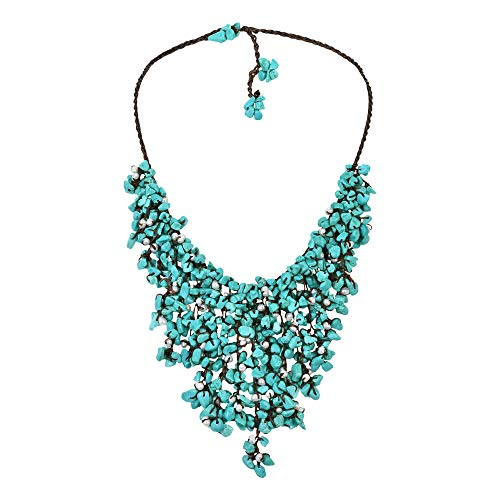 AeraVida Simulated Turquoise-Cultured Freshwater Pearl Waterfall On Cotton Wax Rope Toggle Necklace ()