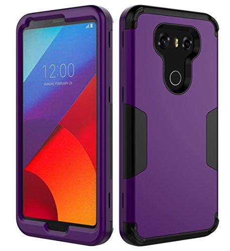GrapCase LG G6 Case,Three Layer Heavy Duty Rubber Silicone Plastic Hybrid Protective Case Fit for LG G6 (2017),Purple Black
