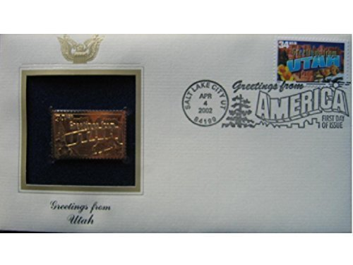 2002 UTAH Greetings From America First Day Issue Gold 22kt Golden Replica Stamp 1st First Day Issue Stamp Cover FDC ()