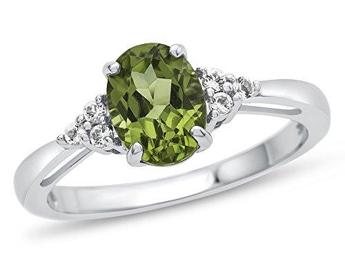Peridot Gemstone Round Shape - Finejewelers 10k White Gold 8x6mm Oval Peridot and White Topaz Ring Size 8