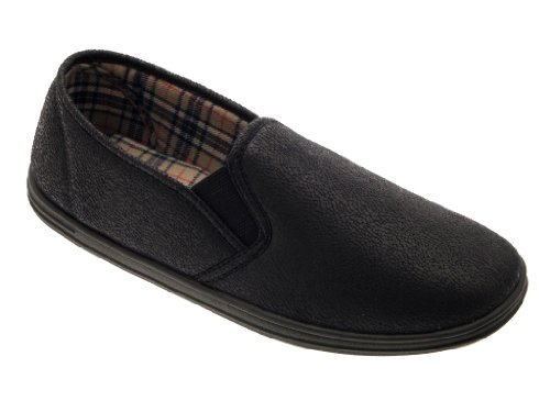 MENS GENTS BOYS SLIPPERS SLIP ON MULES SIDE GUSSET VELOUR FAUX LEATHER SHOES SIZE UK 6-12 Faux Leather - Black XMiXd