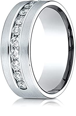 Benchmark 18K White Gold 8mm Comfort-Fit Channel Set 12-Stone Diamond Wedding Band Ring (0.96 ct.)